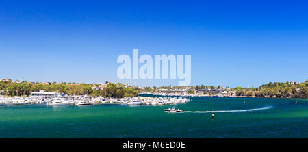 Swan Yacht Club, the Swan River and East Fremantle as viewed from Mosman Park. - Stock Photo