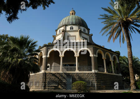 Exterior of the Roman Catholic church of the Beatitudes located on the Mount of Beatitudes by the Sea of Galilee - Stock Photo