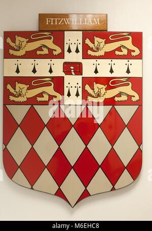 CAMBRIDGE, ENGLAND, UK - DECEMBER 03 2011: Coat of Arms of Fitzwilliam College Cambridge - Stock Photo