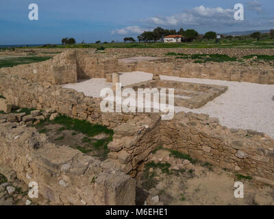 Excavated remains of House of Theseus in Archaelogical Site of Kato Pafos in the Nea Pafos area of the coastal city - Stock Photo