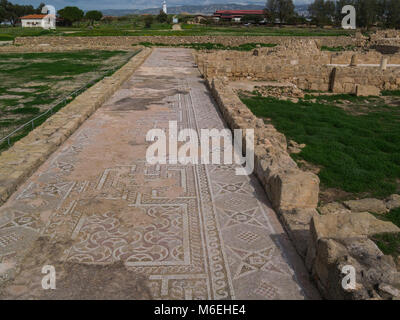 House of Theseus Colourful Mosaic floor of Roman Villa  part of the Archaelogical Site of Kato Pafos an important - Stock Photo
