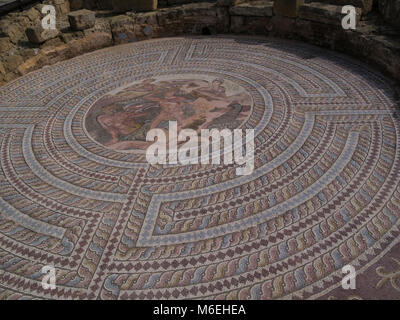 Excavated Mosaics of House of Theseus date back to 2nd century Nea Pafos Archaelogical Park in Kato Pafos area, - Stock Photo