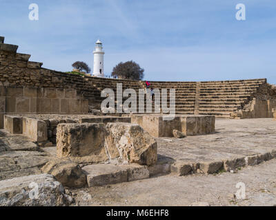 Remains of Odeon Theatre seating 1200 people Nea Pafos Archaelogical Park Kato Pafos Phaphos Southern Cyprus now - Stock Photo
