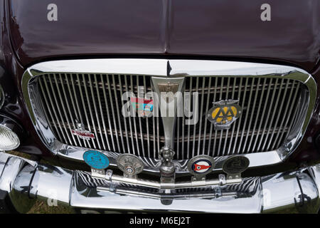 Front grill of a Rover 3.5 P5 litre classic car from the 1960s, at a rally in Ramsgate Kent, July 2017 - Stock Photo