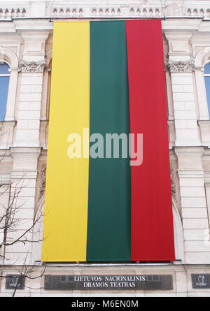 Lithuanian flag on drama national theater in Vilnius - Stock Photo