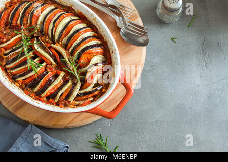 Ratatouille - traditional French Provencal vegetable dish cooked in oven. Diet vegetarian vegan food - Ratatouille - Stock Photo