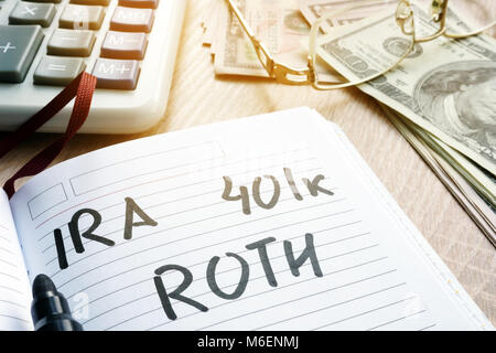 Words IRA 401k ROTH handwritten in a note. Retirement plans. - Stock Photo