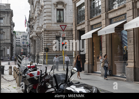 Milan, Italy - August 10, 2017: Trussardi shop in the city center of Milan. Symbol and concept of luxury, shopping, - Stock Photo