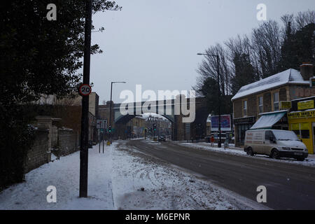 A bridge in the snow during Storm Emma, along Gloucester Road, Bristol - Stock Photo