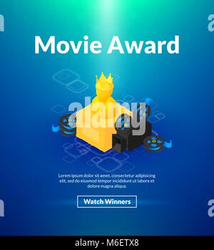 Movie award poster of isometric color design - Stock Photo
