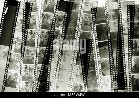 Stack of old films on the light background. - Stock Photo
