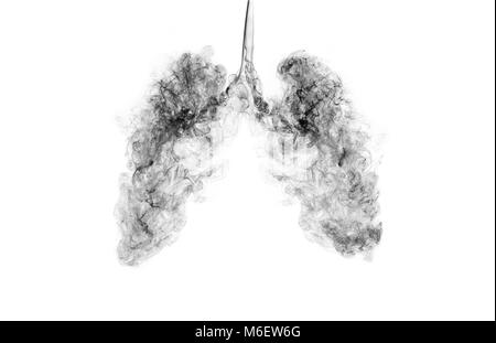 A concept image when smoke goes inside the lungs. Campaign for quitting smoking or living in a polluted area. - Stock Photo