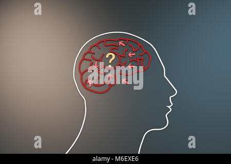 Brain with maze, chaotic arrows, thinking confusion - Stock Photo