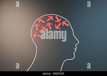 Human brain with arrow, way of thinking - Stock Photo
