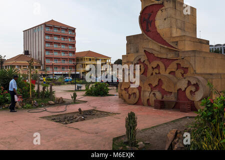 Bissau, Republic of Guinea-Bissau - January 28, 2018: View of the Imperio Square (Praca do Imperio) in the city - Stock Photo