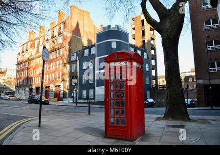 the iconic k2 telephone kiosk design seen here in clerkenwell london great britain - Stock Photo