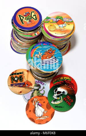 Collection of the Mid 90's game of Pog's - Stock Photo