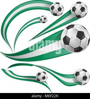 nigeria flag set with soccer ball isolatet on white - Stock Photo