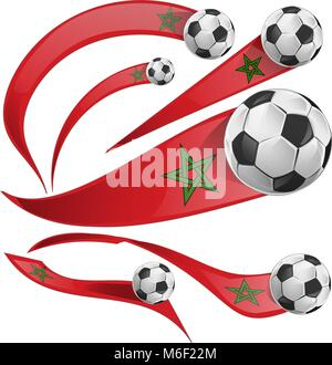marocco flag set with soccer ball isolaetd on white - Stock Photo