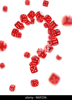 Question mark made of red gambling dices isolated on white background. Risk behind gambling concept - Stock Photo