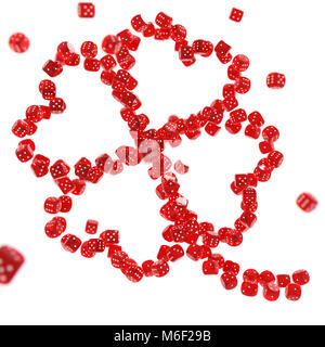 Four-leaved-clover made out of red casino dices stacked together isolated on white background. Luck in gambling - Stock Photo