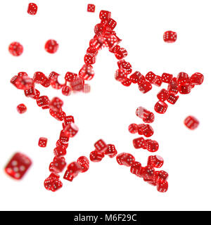 Red casino dices shaped together into a star isolated on white background. Luck in casino concept - Stock Photo