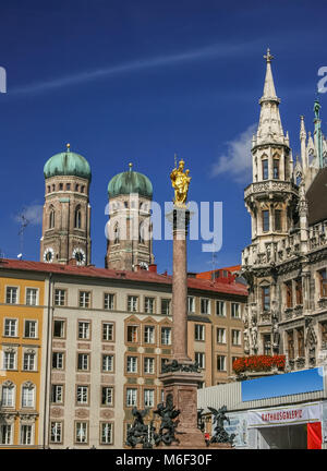 Central Marienplatz square in Munich Germany - Stock Photo