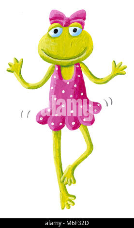 Acrylic illustration of funny cute frog ballet dancer - Stock Photo