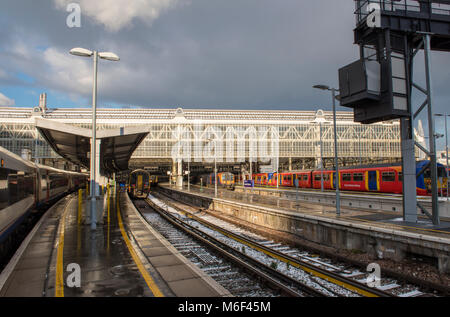 london waterloo railway station mainline terminal for commuters operated by network rail for passengers travelling - Stock Photo