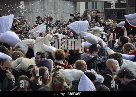 Close-up view of the participants on the pillow fight day, an international outdoor event held every year in different - Stock Photo