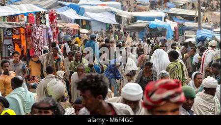 ETHIOPIA,LALIBELA-CIRCA  JANUARY 2018--unidentified people in the market during the genna celebration - Stock Photo