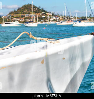 in  australia the concept of sailing with catamaran prow in the ocean and harbor - Stock Photo