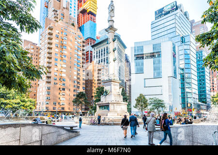 New York City, USA - October 28, 2017: Christopher Columbus Circle in Midtown Manhattan with statue, skyscrapers, - Stock Photo