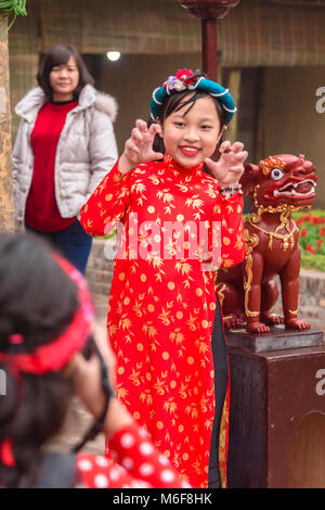 A young girl has her photograph taken as she celebrates the Chinese New Year of the dog in Hanoi, Vietnam - Stock Photo