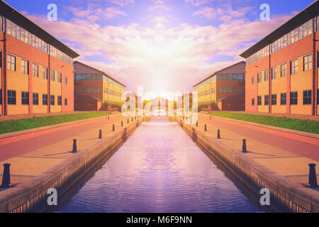 Canal at sunset in Stockton on tees, North Yorkshire, UK - Stock Photo