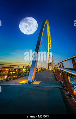 Infinity Bridge at night In Stockton-on-Tees, UK. (Elements of this image furnished by NASA) - Stock Photo