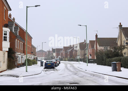 Suffolk. UK. 3rd March 2018. UK Weather: Cold, snowy and misty in Ipswich this morning. Suffolk. Credit: Angela - Stock Photo