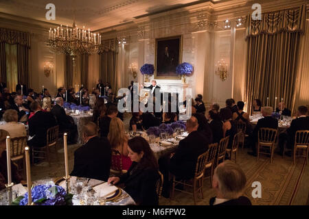 President Donald J. Trump and First Lady Melania Trump participates in the Governors Dinner Sunday February 25, - Stock Photo