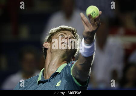South African tennis player Kevin Anderson returns the ball to Argentine Juan Martín del Potro during their Mexico - Stock Photo
