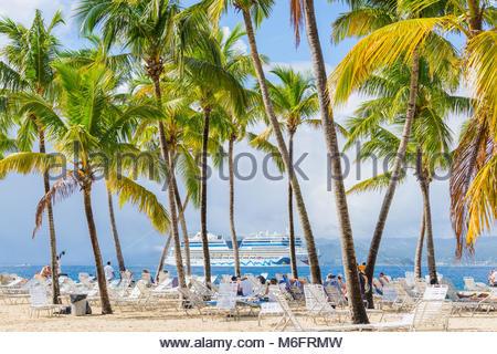 Island Bacardi ( Cayo Levantado), Samana, Dominican Republic. January 2018. Beautiful and bright island in the Samana - Stock Photo