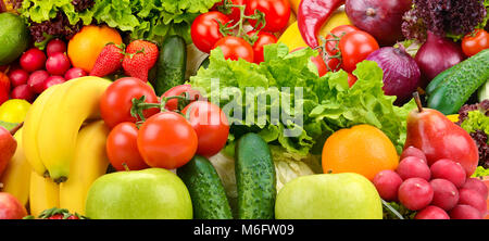 Panoramic collection fresh healthy fruits and vegetables. - Stock Photo