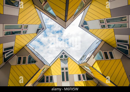 ROTTERDAM, NETHERLANDS - SEP 8, 2013: Cube houses designed by Piet Blom. The design represents a village where each - Stock Photo