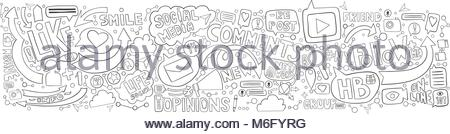 Hand drawn doodle background for social media topic. Horizontal background. Graphite lines illustration on the white - Stock Photo