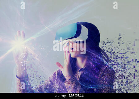 A person in virtual glasses flies to pixels. The woman with glasses of virtual reality. Future technology concept. Modern imaging technology.