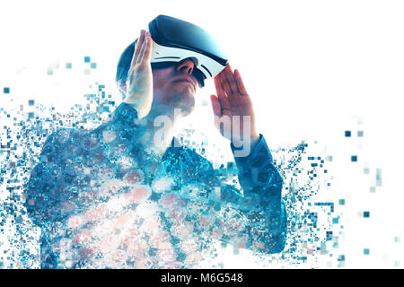 A person in virtual glasses flies to pixels. The man with glasses of virtual reality. Future technology concept. Modern imaging technology. Fragmented by pixels.