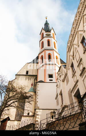 An interesting view of the St. Vitus Church in Cesky Krumlov in the Czech Republic. The church is one of the main - Stock Photo