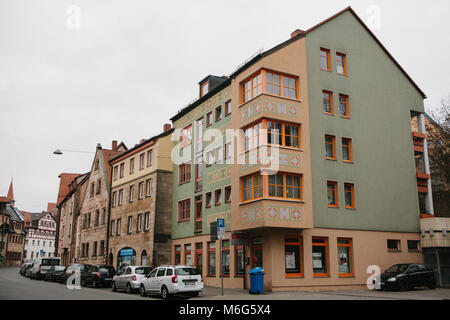 Germany, Furth, December 28, 2016: Furth city in Germany - beautiful view of residential apartment building with - Stock Photo