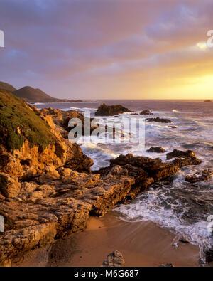 Sunset, Surf, Garrapata State Park, Big Sur, Monterey County, California - Stock Photo
