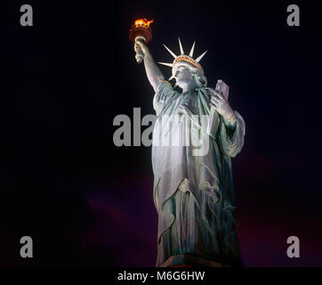 Statue of Liberty at night, New York - Stock Photo