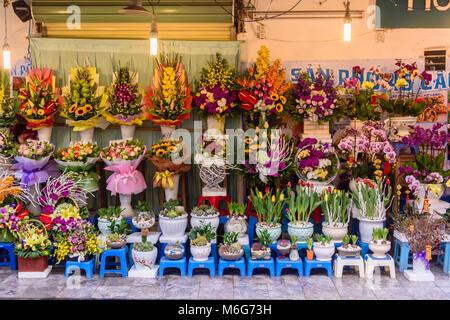 Flowers for sale in Hanoi, Vietnam - Stock Photo